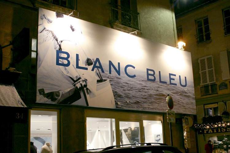 idzif pro impression num rique grand format sur b che enseigne de boutique blanc bleu. Black Bedroom Furniture Sets. Home Design Ideas
